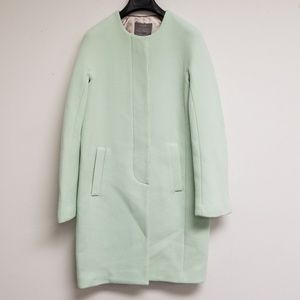NWT J. Crew Mint Wool Button Coat Size 00